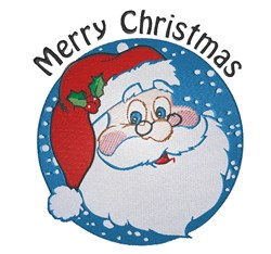 Santa Circle Merry Christmas embroidery design
