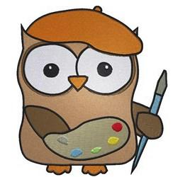 Owl Artist embroidery design