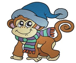 Cute Winter Monkey embroidery design