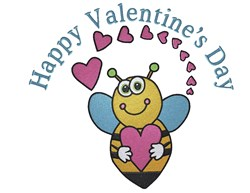 Valentines Bee embroidery design