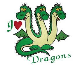 I Love Dragons embroidery design