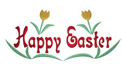 Happy Easter Tulips embroidery design