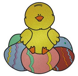 Chick On Easter Eggs embroidery design