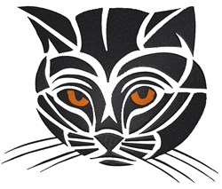 Tribal Cat Head embroidery design
