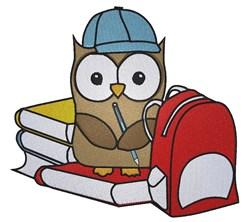 Cute School owl embroidery design
