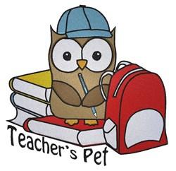 Cute School owl Teachers Pet embroidery design
