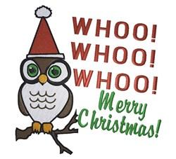 Santa owl Whoo  Whoo  Whoo Merry Christmas embroidery design