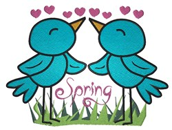 Cute Spring Bird couple in Love Spring embroidery design
