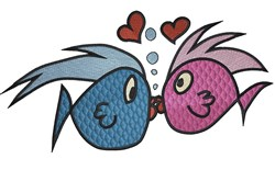 Boy and Girl  fish kissing embroidery design