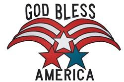 Patriotic Stars design God bless embroidery design