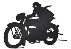 Vintage Motorcycle silhouette embroidery design