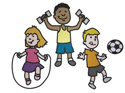Kids Exercising embroidery design