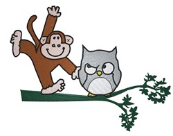Monkey And Owl embroidery design