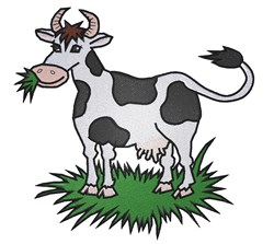Cow Eating Grass embroidery design