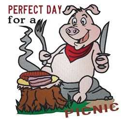 Perfect Day Pig Picnic embroidery design