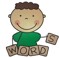 Boy Spelling Words embroidery design