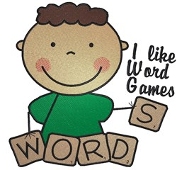 Word Games Boy embroidery design