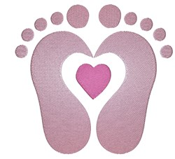 Baby Feet Heart embroidery design