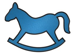 Blue Rocking Horse embroidery design