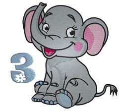 3rd Birthday Elephand embroidery design