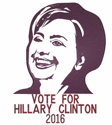 Vote For Hillary embroidery design