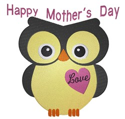 Happy Mothers Day Owl embroidery design