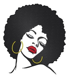 Beautiful Woman With Afro embroidery design