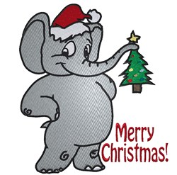 Cartoon Santa Elephant embroidery design