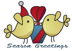 Season Greetings Holiday Birds embroidery design