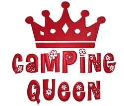 Camping Queen embroidery design