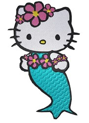 Kitty Mermaid embroidery design