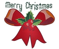 Merry Christmas Bow embroidery design