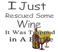 Rescued Wine embroidery design