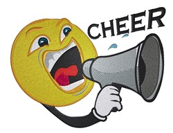 Smiley Face Megaphone Cheer embroidery design