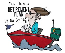 Man In Boat Retirement embroidery design