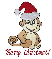 Merry Christmas Monkey embroidery design