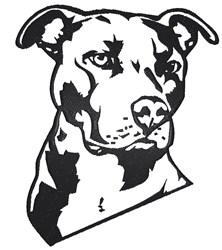 Pit Bull Outline embroidery design
