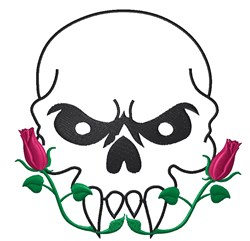 Skull Outline With Roses embroidery design