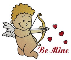 Be Mine Cupid embroidery design