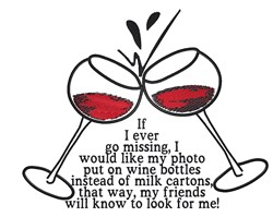Cheers Wine Glasses embroidery design