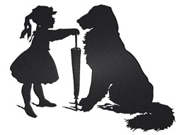 Girl And Dog Silhouette embroidery design