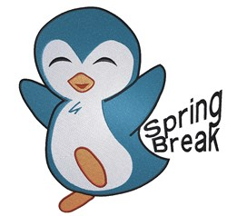 Spring Break Penguin embroidery design