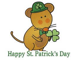St. Patricks Day Mouse embroidery design