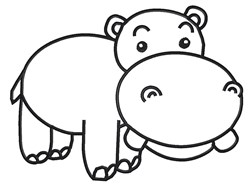 Hippo Outline embroidery design