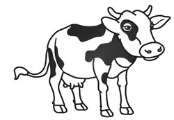 Cute Cow Outline embroidery design