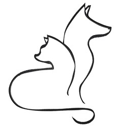 Artistic Cat & Dog Outline embroidery design