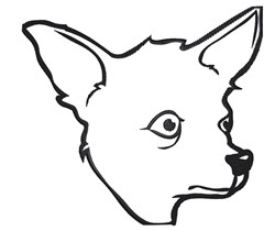 Chihuahua Head Outline embroidery design
