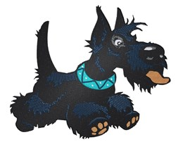 Excited Scottish Terrier embroidery design