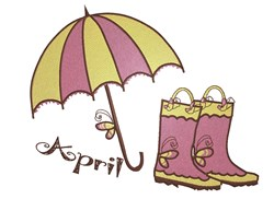 April Showers Rain Gear embroidery design