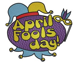 April Fools Day embroidery design